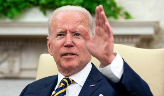 President Joe Biden meets with Israeli President Reuven Rivlin in the Oval Office on Monday in Washington, D.C.