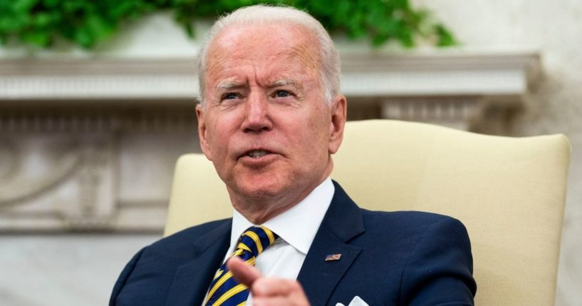 President Joe Biden meets with Israeli President Reuven Rivlin in the Oval Office in Washington, D.C., on Monday.