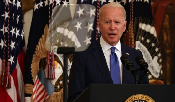 President Joe Biden delivers remarks in the East Room of the White House on Friday in Washington, D.C.
