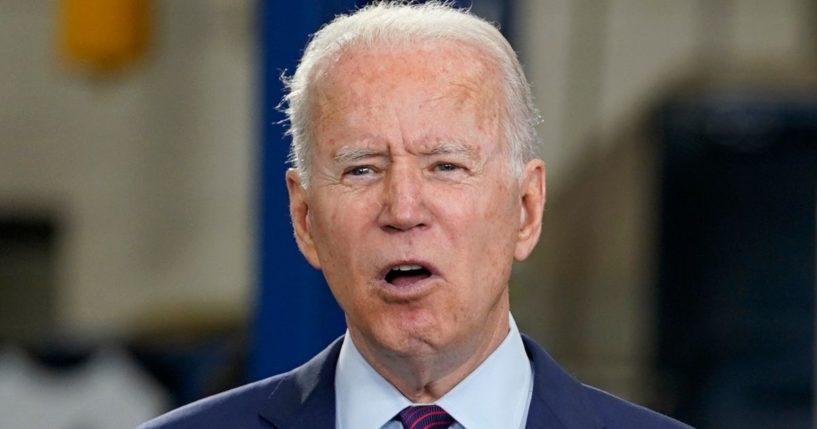 President Joe Biden speaks about infrastructure spending at the La Crosse Municipal Transit Authority in La Crosse, Wisconsin, on Tuesday.