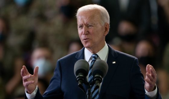 President Joe Biden addresses Air Force personnel at RAF Mildenhall in Suffolk ahead of the G7 summit in Cornwall on Wednesday in Mildenhall, England.