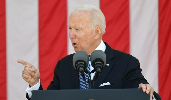 President Joe Biden delivers an address at the 153rd National Memorial Day Observance at Arlington National Cemetery on Memorial Day in Arlington, Virginia, on May 31, 2021.