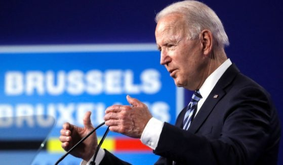 President Joe Biden speaks during a news conference after the NATO summit at the North Atlantic Treaty Organization headquarters in Brussels on Monday.