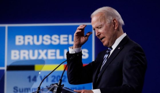 President Joe Biden speaks during a news conference after the NATO summit at the North Atlantic Treaty Organization headquarters in Brussels on Tuesday.