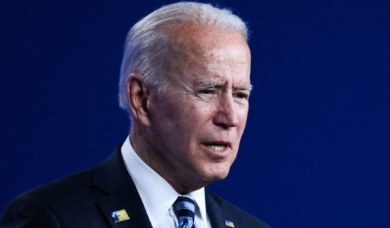 President Joe Biden speaks during a news conference after the NATO summit in Brussels on Monday.