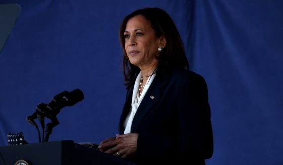 Vice President Kamala Harris delivers remarks at the U.S. Naval Academy Graduation and Commissioning Ceremony at the Naval Academy on Friday in Annapolis, Maryland.