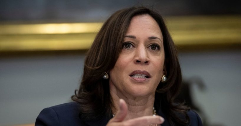 Vice President Kamala Harris speaks while meeting with Democratic members of the Texas Legislature in the Roosevelt Room of the White House on June 16, 2021, in Washington, D.C.