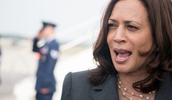 Vice President Kamala Harris speaks with the media at Hartsfield Jackson International Airport before boarding Air Force Two back to Washington D.C. on Friday in Atlanta.