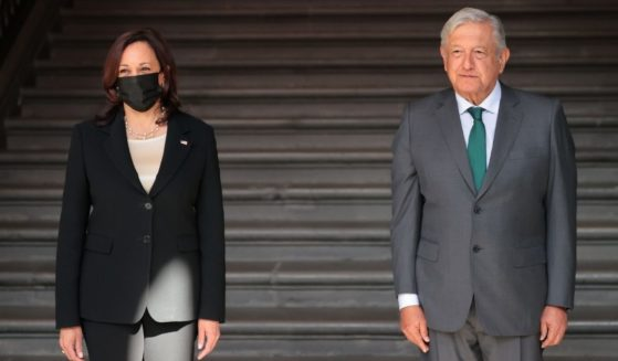 Mexican President Andrés Manuel López Obrador, right, and American Vice President Kamala Harris pose after the signing of a memorandum of understanding focused on immigration issues in America at Palacio Nacional on Tuesday in Mexico City, Mexico.