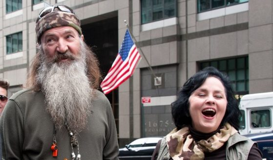 Phil Robertson, left, and Kay Robertson are seen in Times Square on May 7, 2013, in New York City.