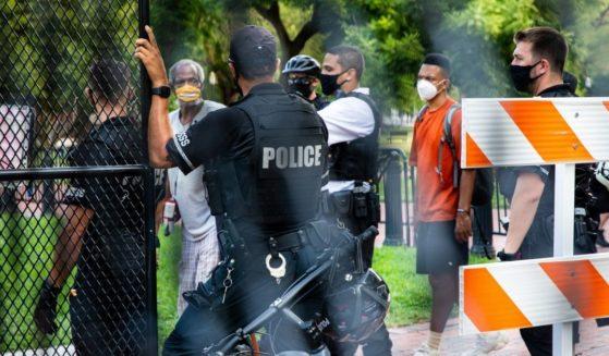 Secret Service Police empty Lafayette Square Park on Aug. 27, 2020, in Washington, D.C.