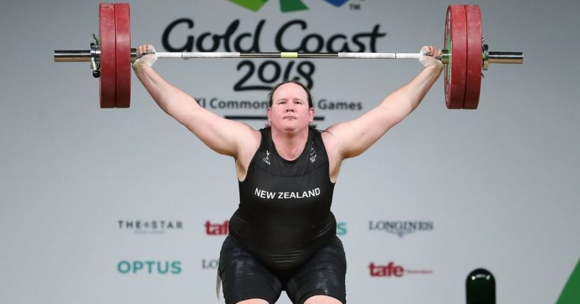 Laurel Hubbard of New Zealand, a man who identifies as a woman, competes in the women's +90kg final on day five of the Gold Coast 2018 Commonwealth Games at Carrara Sports and Leisure Centre on April 9, 2018, on the Gold Coast, Australia.