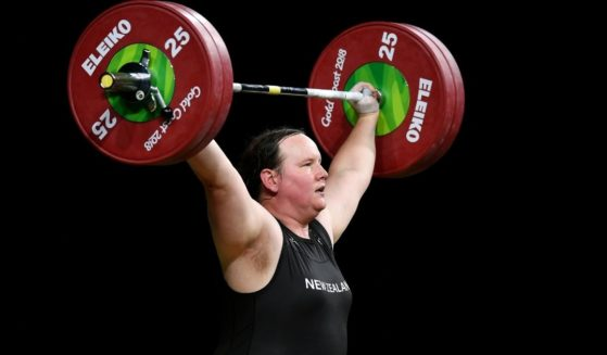 Laurel Hubbard of New Zealand competes in the women's +90kg weightlifting final during the Gold Coast 2018 Commonwealth Games on April 9, 2018, on the Gold Coast, Australia.