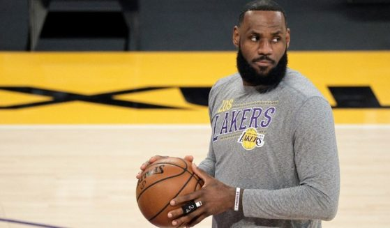 LeBron James, #23 of the Los Angeles Lakers, warms up prior to a game against the Atlanta Hawks at Staples Center on March 20, 2021, in Los Angeles.