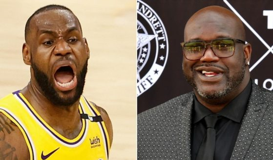 At left, LeBron James of the Los Angeles Lakers reacts during a playoff game against the Phoenix Suns at Phoenix Suns Arena on May 25. At right, NBA legend Shaquille O'Neal speaks during an event in McDonough, Georgia, on April 7.