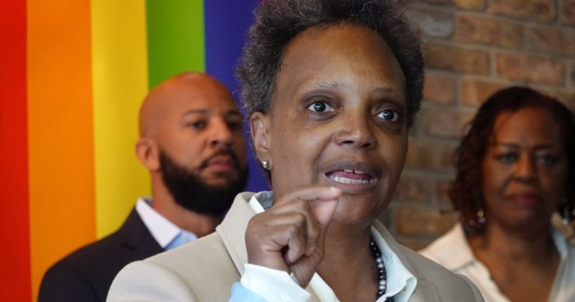 Chicago Mayor Lori Lightfoot speaks to guests at an event held to celebrate Pride Month on June 7, 2021 in Chicago.