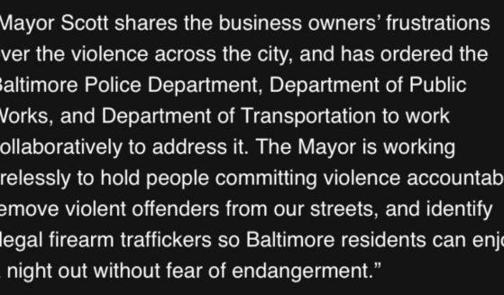 Democratic Mayor Brandon Scott of Baltimore responds to business owners.