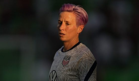 Megan Rapinoe of the United States women's national soccer team warms up before a game against Nigeria on June 16, 2021, in Austin, Texas.