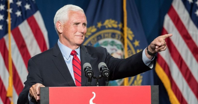 Former Vice President Mike Pence speaks on June 3, 2021, in Manchester, New Hampshire.