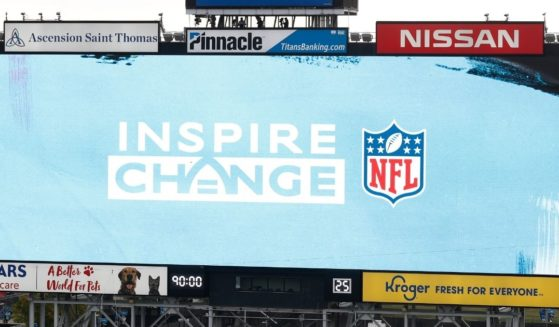 The NFL's social justice logo is displayed before an NFL football game between the Tennessee Titans and the Houston Texans on Oct. 18, 2020, in Nashville, Tennessee.