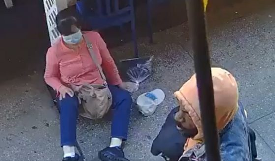 A man identified as Alexander Wright is seen after attacking an Asian woman in New York's Chinatown.