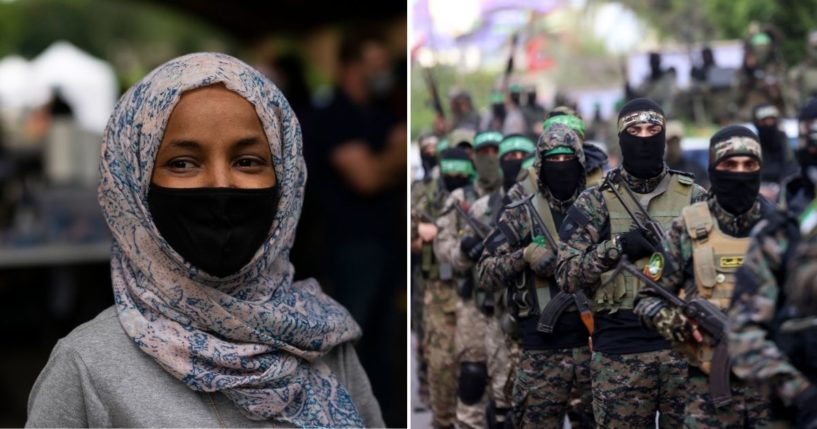 Democratic Rep. Ilhan Omar of Minnesota, left, is shown side by side with members of Al-Qassam Brigades, right, the armed wing of the Palestinian Hamas movement.