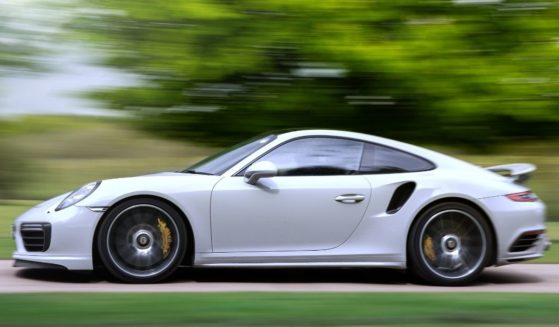 The Porsche 911 Turbo S is seen in Hertfordshire, England, on May 11, 2021.