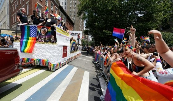 Parade participants celebrate New York City Pride on Sunday in New York City.