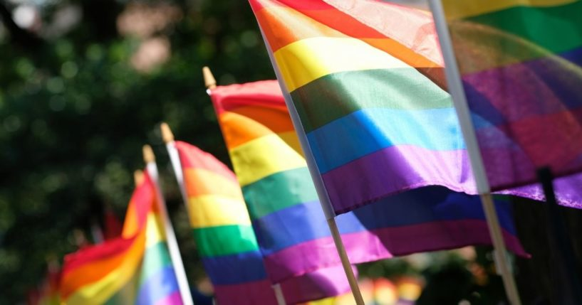 Pride flags decorate Christopher Park on June 22, 2020, in New York City.