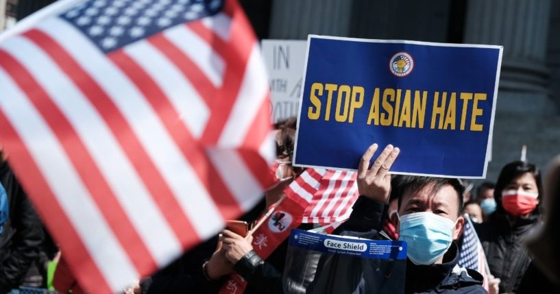 People participate in a protest against anti-Asian violence on April 4, 2021, in New York City.