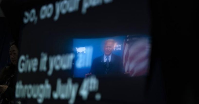 President Joe Biden speaking from a teleprompter