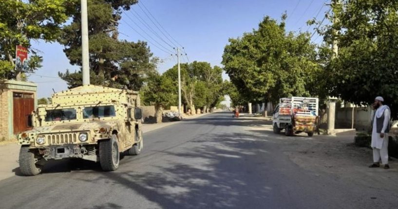 An Afghan army, Humvee, patrols in Kunduz city, north of Kabul, in Afghanistan on Monday.