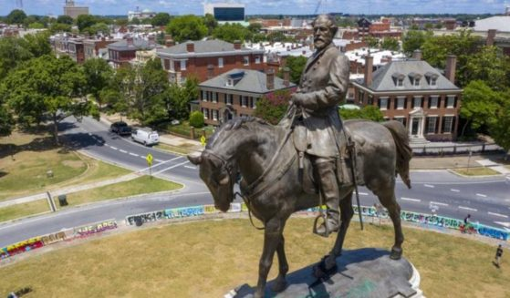 A statue of Confederate Gen. Robert E. Lee is seen in Richmond, Virginia, on July 10, 2020.