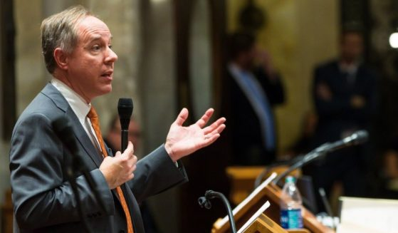 Republican Wisconsin Assembly Speaker Robin Vos addresses the Assembly during a contentious legislative session on Dec. 4, 2018 in Madison, Wisconsin.