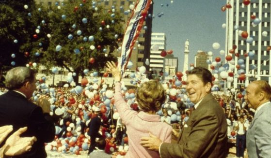 Ronald and Nancy Reagan are seen above.