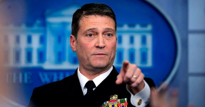 White House physician Dr. Ronny Jackson speaks to reporters during the daily media briefing in the Brady press briefing room at the White House in Washington, D.C.