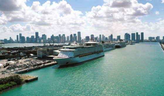 Royal Caribbean's Explorer of the Seas is docked along with other cruise ships at PortMiami in Miami on May 26