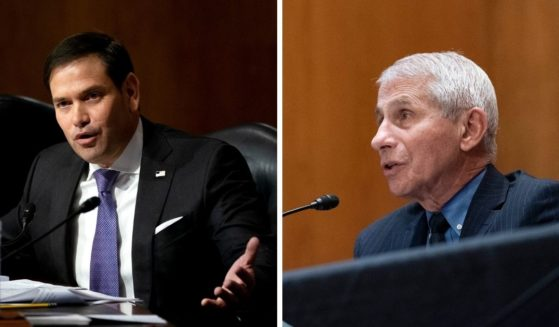 Republican Sen. Marco Rubio of Florida, left, lays out why he thinks Dr. Anthony Fauci, right, should be fired for his handling of the Coronavirus pandemic.