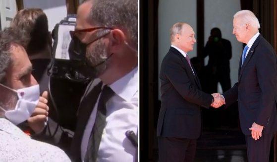Journalists, left, assemble near the Putin-Biden Summit in Switzerland on Wednesday. Russian President Vladimir Putin, right (left-hand side), shakes hands with US President Joe Biden, right (right-hand side), prior to the US-Russia summit at the Villa La Grange, in Geneva on Wednesday.