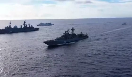 A video released by the Russian government shows Russian navy ships on exercises in the Pacific Ocean.