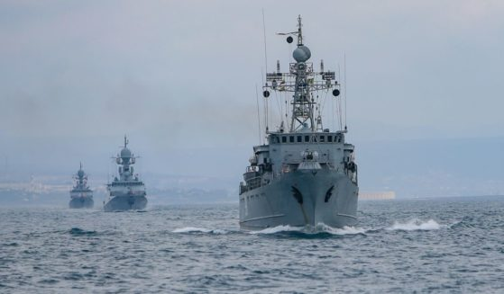 Ships in Russia's Black Sea Fleet go to sea April 14 as part of a control check during the winter training period.
