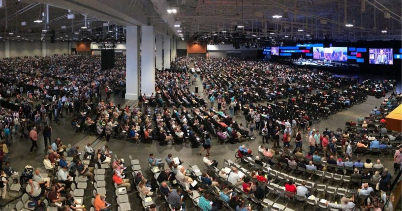 People attend the morning session of the Southern Baptist Convention's annual meeting on Wednesday in Nashville, Tennessee.