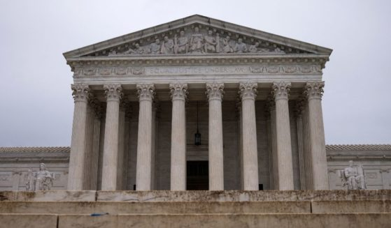 Rain clouds hang above the Supreme Court building on May 24, 2021, in Washington, D.C.