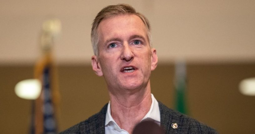 Mayor Ted Wheeler of Portland, Oregon, speaks during a news conference at City Hall on Aug. 3