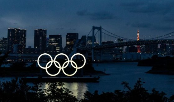 The Olympic Rings are displayed by the Odaiba Marine Park Olympic venue on June 3, 2021 in Tokyo, Japan.