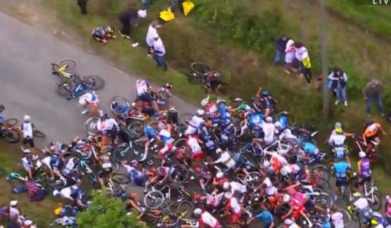 Many riders went down in the massive pileup that followed when one bike crashed into another in the close-packed group at the TourDeFrance.