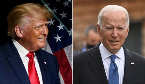 At left, former President Donald Trump addresses the North Carolina state Republican convention in Greenville on June 5. At right, President Joe Biden walks between engagements Friday during the G-7 summit in Carbis Bay, United Kingdom.