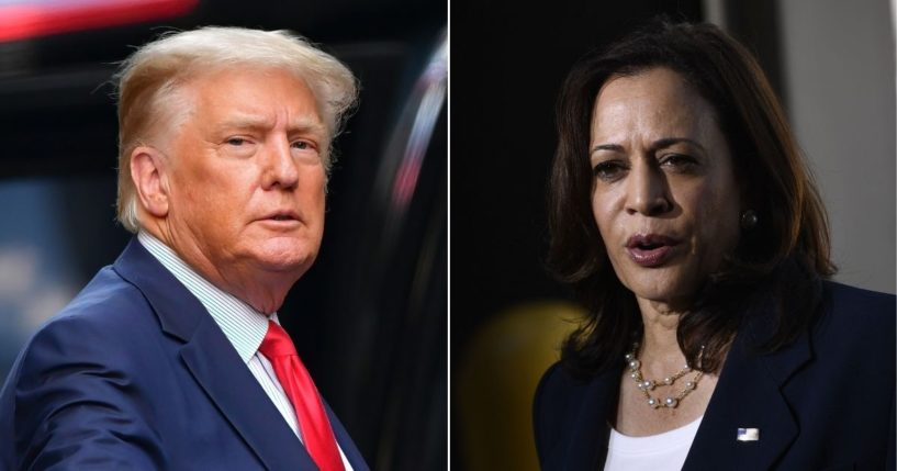 Left, former U.S. President Donald Trump leaves Trump Tower in Manhattan on May 18, 2021 in New York City. Right, Vice President Kamala Harris speaks during a news conference at El Paso International Airport on June 25, 2021 in El Paso, Texas.
