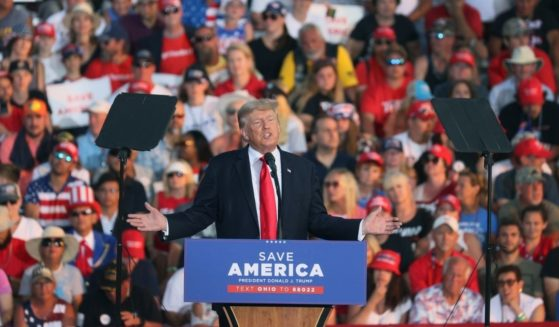 Former President Donald Trump speaks to supporters during a rally at the Lorain County Fairgrounds on Saturday in Wellington, Ohio.