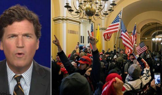 Fox News host Tucker Carlson, left, talks about the Jan. 6 Capitol riot, right.